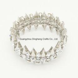 Fashion Electroplate (0,03 μ) & électrophorèse Triangle Silver-Color Trendy strass Stretch Bangle Bracelet Bijoux Bijoux pour femmes