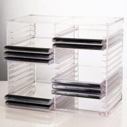 Claro apilable de plástico acrílico porta CD - Contiene 30 cajas de CD estándar