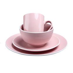 분홍색 색깔 유약 식기는 백색 변죽에 16 PCS 사기그릇에 의하여 돋을새김된 저녁식사 세트 식기류 고정되는 호화스러운 세라믹을 놓았다