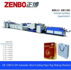 Macchina del sacco di carta dell'avanzamento del foglio con la parte superiore che piega Zb1200CS