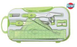 Brújula de plástico verde 8 conjuntos de la escuela y suministro de material de oficina