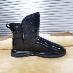 Schoenen van de Vrouwen van de Winter van de manier de Goedkope met Schoenen van de Dames van de Laarzen van de Enkel van het Schoeisel van het Leer van Golssy van het Bont de Zwarte