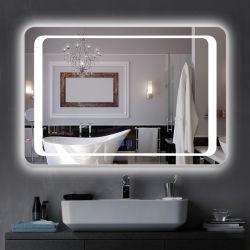 Hotel Casa de Banho da estrutura de aço Preto Mate espelhos de LED de ecrã táctil Anti-Fog Personalizar elegante casa de banho espelhos