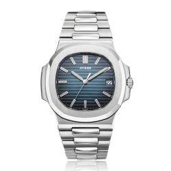 Sólido de acero inoxidable de las principales marcas reloj de pulsera azul Plaza Automática Mecánica Mans ver