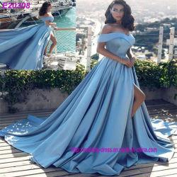 Vestido de festa Azul acetinado para o ombro do lado da PROM de Longa Noite Dividido Roupões