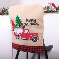 メリークリスマス装飾的なXmasの椅子の保護装置のSlipcovers車はバーラップのクリスマスの椅子カバーを設計した