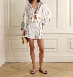 Moda Feminina elegante barra recortada Frente branca bordada recortado roupa Floral Imprimir conjunto de duas peças de vestuário das mulheres