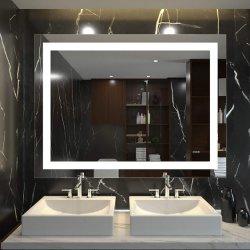 Specchi fissati al muro di trucco illuminati vanità LED Defogger della stanza da bagno di Fogless Backlit rettangolo verticale orizzontale della casa dell'hotel con illuminazione