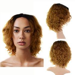 أنجيلبيلا الشعر wig صنع آلة المياه Wave قصيرة بلوند wig شعر الإنسان المموج الشعر الشعر المستعار الشعر العذراء للنساء السود