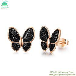 Global MGO fábrica de joyas de cristal al por mayor de Rhinestones espárrago mariposas pendientes de moda para mujeres