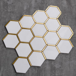 Hexagon Griechische Kristall Marmor Mosaik Fliesen mit Edelstahl