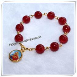 8mm rouge religieux perles de verre doigt avec la Vierge Marie du Rosaire (IO-EC018)