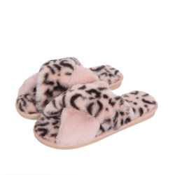 Schoenen van de Dia's van de Vrouwen van de Winter van Superstarer houden de Binnen Duidelijke de Warme Pantoffels van de Dia van de Vrouwen van de Luipaard TPR Bont