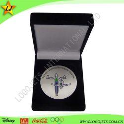 Выгравированный имя или номер сувенирный цинкового сплава монет с бархатным в салоне
