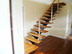 Роскошь с плавающей запятой деревянные лестницы открыть углеродистой стали прямая лестница