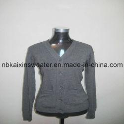 여자 V 목 회색 카디건 스웨터 (KX-W83)