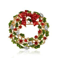 女性のかわいい様式の女の子の方法宝石類の多色刷りのBow-Knotの花輪のブローチピンのための新しい到着のクリスマスのラインストーンのブローチ