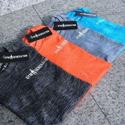 قميص رياضي رفيع سريع الجفاف يعمل بالأكمام القصيرة ذات العنق المستدير قميص
