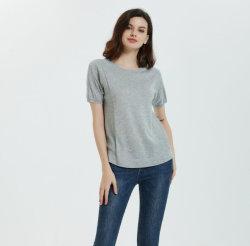 Estilos de 2020 85% Seda 15% de misturas de Caxemira Senhoras moda T-shirt Roundneck para a Primavera