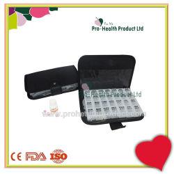 Bolsa de couro 7 Caixa de pílula do dia bolsa em pele de PU 7 Dias Recipiente pílula de plástico de Viagem