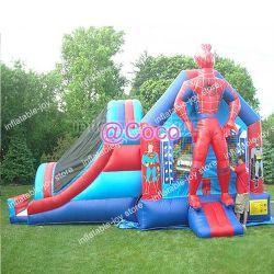6*4*3,5 milhões Spiderman combinações insufláveis, durável de locação comercial Casa de devolução inflável com deslize