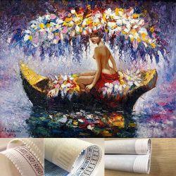 Fille nue romantique en bateau court-Lint DIY Rhinestone Peinture d'Art sur toile