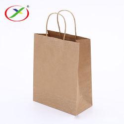 安くリサイクルされて印刷される卸売のカスタムロゴはツイストかきっかりハンドルが付いている買物をする食品包装の包装紙袋を取り除く