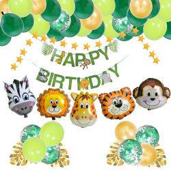 Forest Animal Theme Party Balloon Set Green Forest Series Boys Decoração de Festa de balão de aniversário