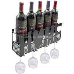 Comercio al por mayor de vino de fábrica de montaje en pared Soporte estante de vino de metal