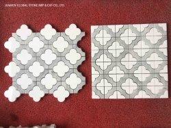 Смешанные цвета белого мрамора Thassos + Bianco Каррарским мозаики плитки нового цветочными орнаментами дизайн для ванной комнате кухня стены Backsplash панелей