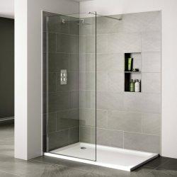 Banheiro chuveiro porta de vidro com bar de apoio