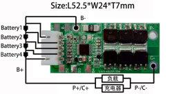 Lws-4S20A-298-L51.8*W24*T3mm RoHS 94V0 12.8V Smart BMS 4s 20A pour pack de batterie LiFePO4 4S PCB12.8PCM V 20A