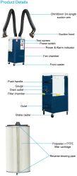 携帯用TIGの溶接工の発煙の抽出器の移動式溶接発煙の抽出の単位
