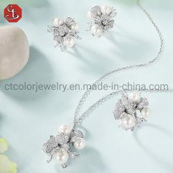 Perla de agua dulce el compromiso y boda 925 Joyería de Plata joyería fina para mujeres