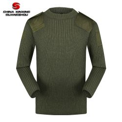 Militaire sweater Olive Groene Ronde nek Tactical Pullover Polyester wol Jersey sweater voor heren