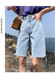 Короткое замыкание в джинсах женщин Skinny длина колена черного цвета деним Бермудских Островов шорты Джинсовые брюки