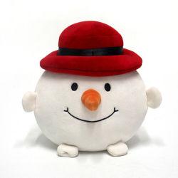 مخصص 20 سم أبيض وثير جميل محشو هدية عيد الميلاد snowman ناعم لعبة مع قبعة حمراء