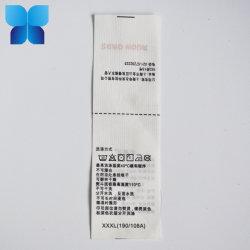 Venda por grosso de Rótulo Acetinado de poliéster/cuidado de lavar roupa etiqueta impressa