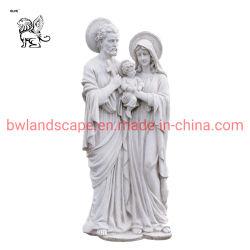 Escultura religiosa em mármore lado Carving Sagrada Família Figura Estátua Msd-22