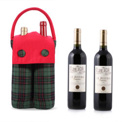 Doppio tessuto del percalle di disegno di modo dei sacchetti del regalo del vino della bottiglia con il sacchetto del vino della maniglia