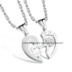 Romantische halbe Liebe Herz Puzzle Anhänger Halskette 316L Edelstahl Paar Halsketten Kette Halskette