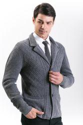 남자의 형식 30% Cashmere& 70% 모직은 접어젖힌 옷깃 고리와 관리에 의하여 뜨개질을 한 블레이저 코트 또는 한 벌을 섞었다