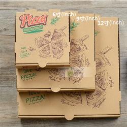Drukte de Beschikbare Douane van de Rang van het voedsel het Bruine Vakje van het Document van Kraftpapier van de Pizza van de Sandwich van de Container van het Snelle Voedsel Meeneem af