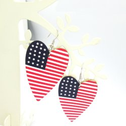 [أمريكن فلغ], أحمر, بيضاء وزرقاء, بسيطة قلب [بو] حلق عطلة [نأيشنل دي] حلق بسيطة [بو] حلق جلد حلق