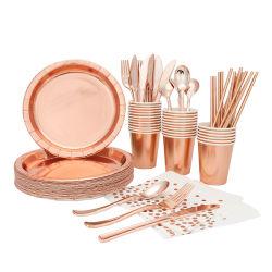 Сторона подает свадебное отеля ежедневно используйте одноразовые посуда бумаги закрывается Золотой план посуда,