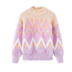 Suave y Cómodo jersey de punto de invierno de las niñas de hilados de plumas tejidos de punto Jersey