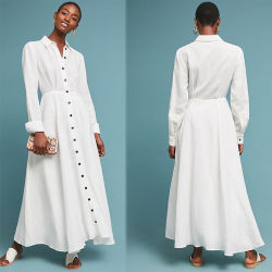 Fall der Frauen, der lange Hülsen-Maxi Leinenhemd-Kleid kleidet