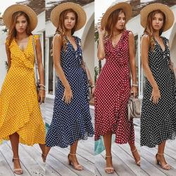 새로운 패션 V Neck ruffle Polka DOT 프린팅 플러스 사이즈 트렌디한 롱 드레스 여성용 드레스