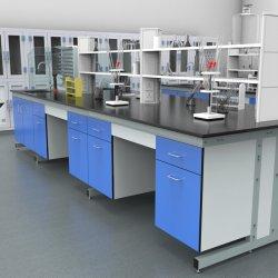 Hospital Universitario de acero de la Escuela de Química Médica biológica de madera de metal montado en el piso de banco de trabajo de laboratorio de la isla con resina epoxi encimera/.