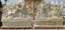 Старинными каменными резьба скульптура для сада каменные статуи (Си-X1684AB)